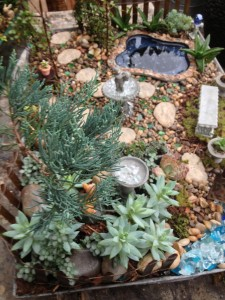 A bird's eye view of a miniature garden landscape
