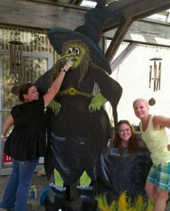 Molly, Jamie and Pinkie with our witch!
