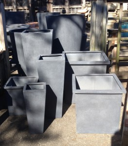 Different shapes and sizes of light weight planters...