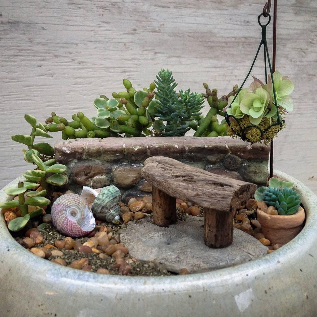 Landscaping With Driftwood : Miniature garden with driftwood bench oak street