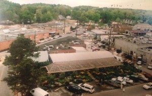 This aerial view from 1997 shows the finished shadehouse...