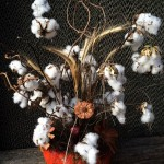 Cotton bolls in arranged with pods and stems, in a pumpkin...
