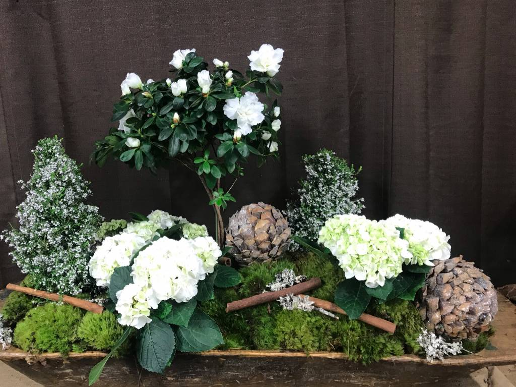 Holiday Arrangement in A Large Dough Bowl