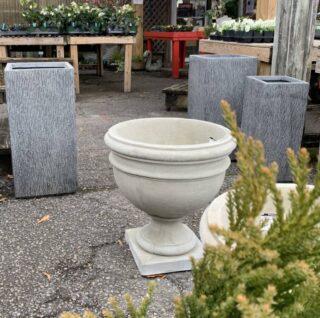 Cast Stone Urn and Lightweight Fiber Pots